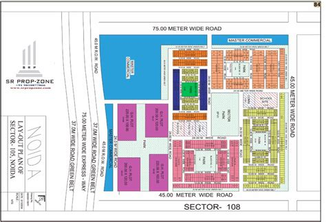 Layout Plan of Noida Sector-105 HD Map