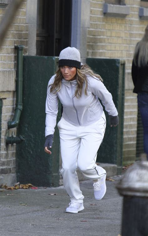 JENNIFER LOPEZ in Workout Clothes on the Set of Second Act